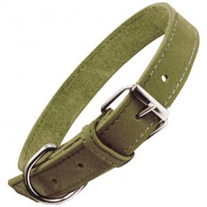 Collar en piel nobuk verde