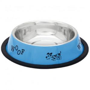 Comedero inox azul con perros XL