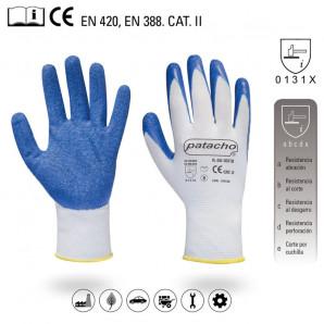 Guante nylon con recubrimiento de latex grueso T. 8